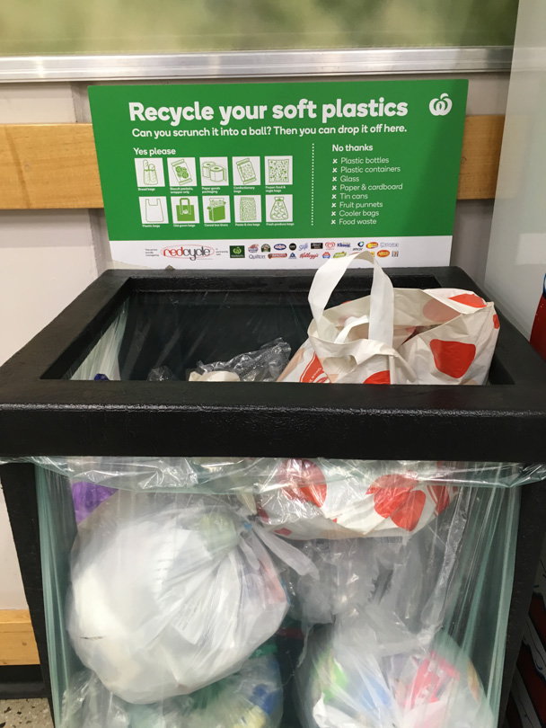 Single use single use plastic wrap bin collection point in local Australian supermarket